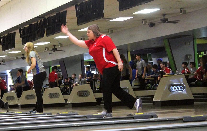 Junior Jaden Light bowls at a meet earlier in the season. Light is this weeks Athlete of the Week.