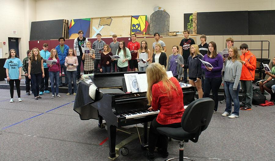Choir teacher Doris Prater has gathered choir students to practice during EnCor. The show they will preform will be for charity at Reflection Ridge at 4.