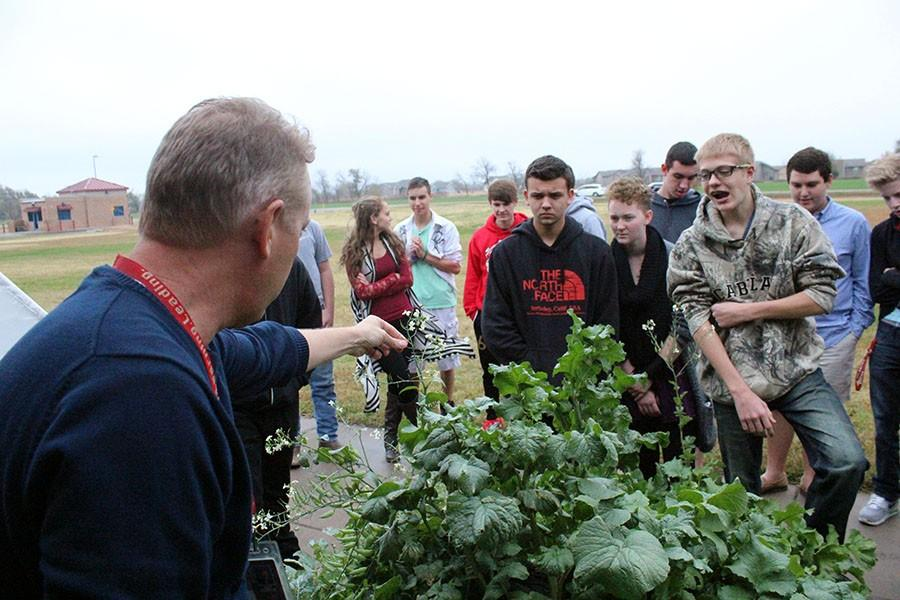 Horticulture teacher Jay Super is outside with his students teaching them the differences between plants.  All of the plants in their garden, were planted by students, to provide a hands-on experience.