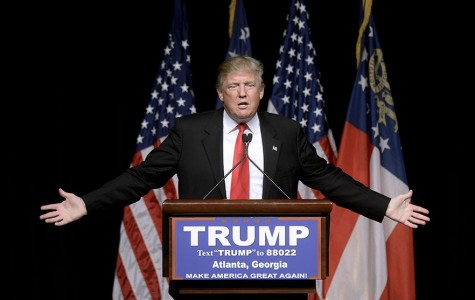 Republican presidential candidate Donald Trump speaks during a campaign rally at the Georgia World Congress Center in Atlanta on Sunday, Feb. 21, 2016. (Olivier Douliery/TNS)