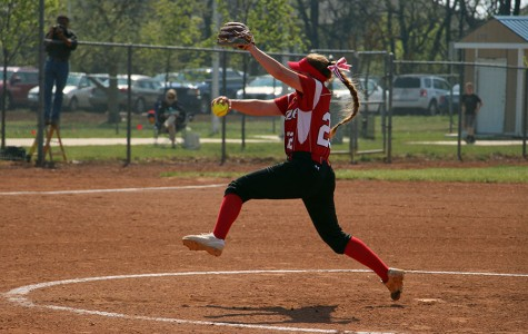 Sophomore Lauryn Ogden pitching during the first game.
