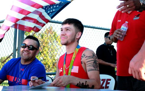 Olympic boxer, Nico Hernandez attended the football game on Sept. 2. He signed autographs and took pictures before the game.