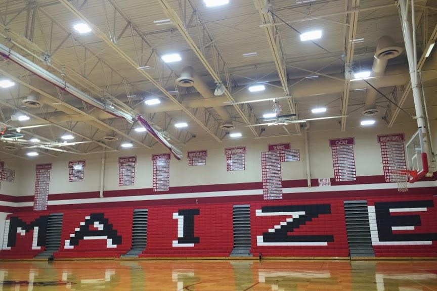 The new lights were installed on October 14, a day when students were off school due to an inservice day. Photo by Abby McCoy.