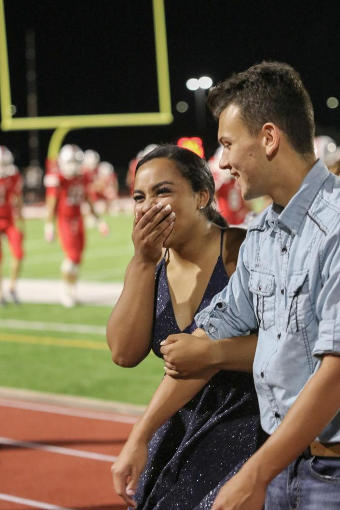 Senior Karli Baker gets the news of being homecoming queen. She was nominated with senior Gavin White.
