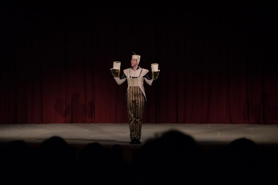 Senior Dean Lang opens the show dressed as Lumière from