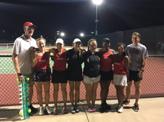 Tennis players after their second place finish in the AVCTL Tournament.