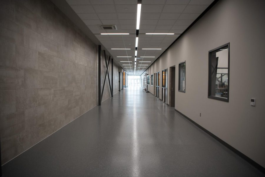 This is the main hallway in the new CTE building, where most of the classes branch off from. The CTE building opened on January fourth but is still under construction.