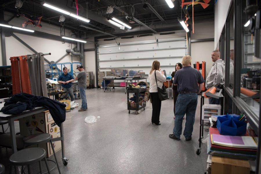 This is the new aviation engineering room where students are building a certified airplane. Students are being guided by current college aviation engineers and flight instructors.
