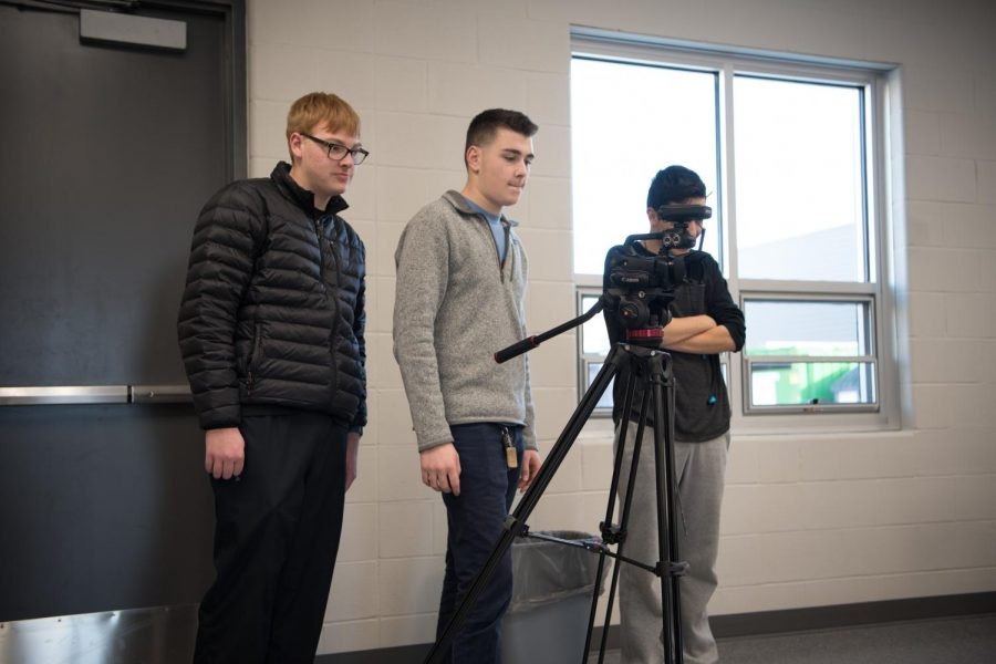 Broadcast students recording video to get practice for their new class based in the new CTE building. The new equipment provided with the building will help increase their technical experience.