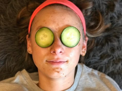 Allison Linton is relaxing with her Christmas gift - a homemade face mask.