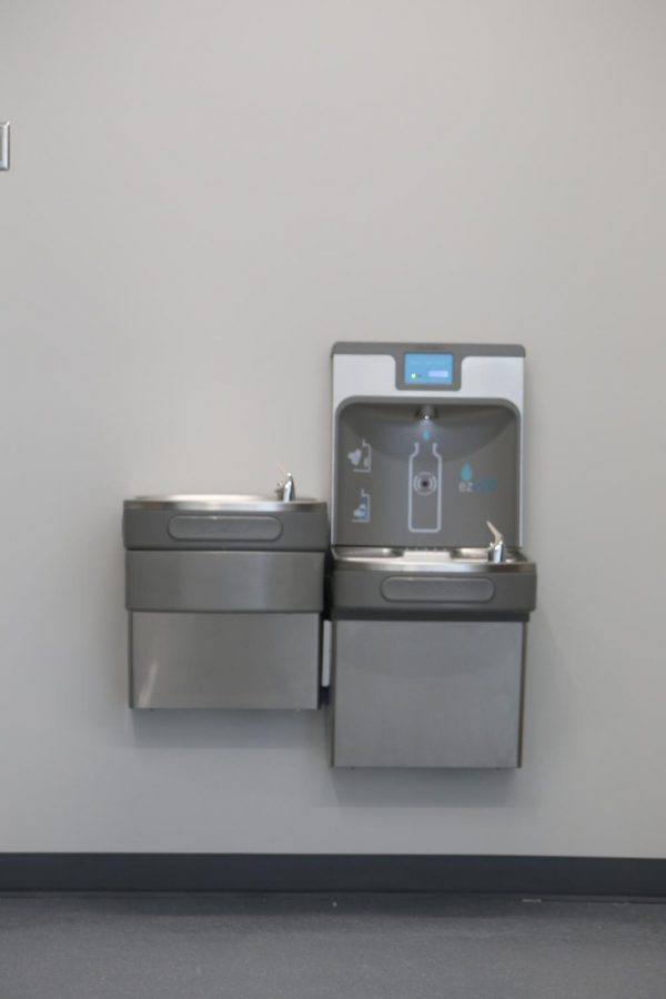 In the new CTE building they have a new water bottle refill station. Water bottle refill stations are convenient and easy for refilling water bottles.