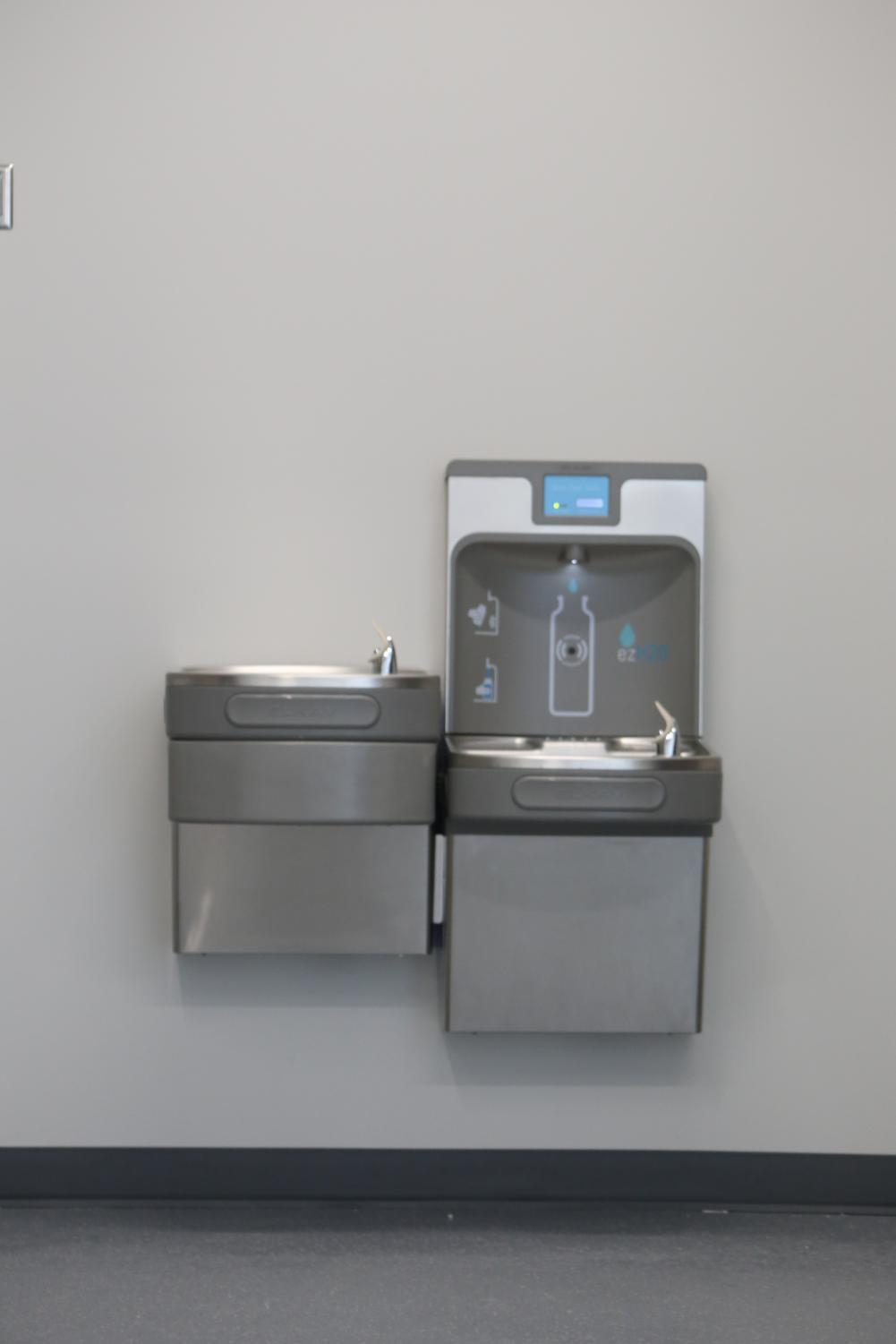 In+the+new+CTE+building+they+have+a+new+water+bottle+refill+station.+Water+bottle+refill+stations+are+convenient+and+easy+for+refilling+water+bottles.