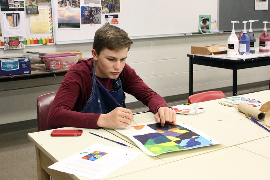 Jakeb Wilks, 9, worked on his painting project for art class. Wilks has been working on this piece for the past two weeks. Photo by K. Fisher