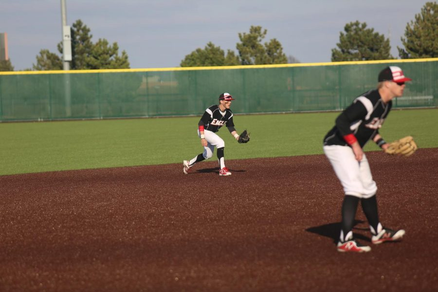 Junior Jordan Helm prepares to ground a ball.