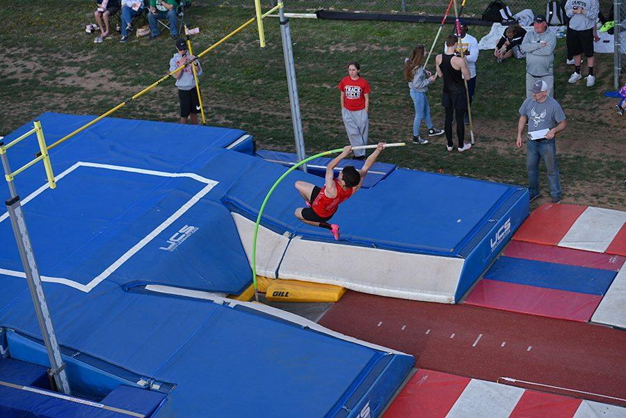 Sophomore Braeden Thompson pole vaults. The track team will be back in action on Friday.
