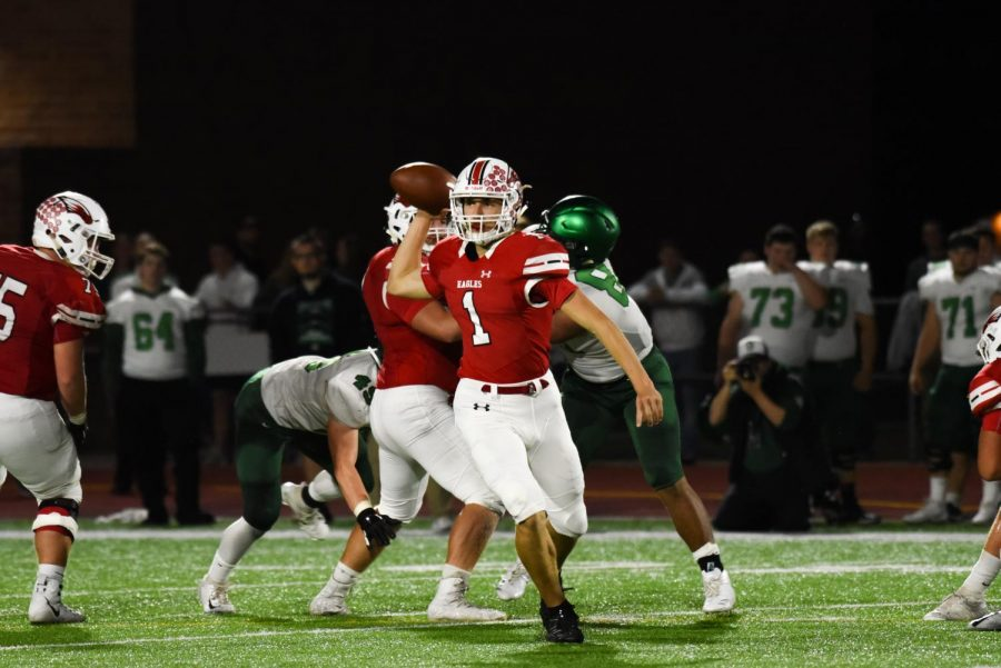 Senior Caleb Grill looks to pass. Grill will represent the Maize football team in the Shrine Bowl.