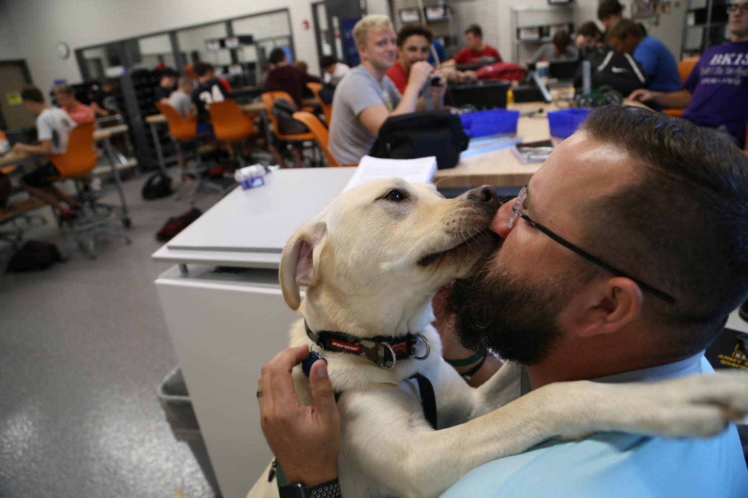 Major gives kisses to handler Jed Heath during robotics. Major is allowed to roam around the class and provide comfort to distressed students. Photo by Sam Bartlett