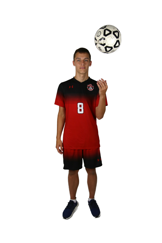 Senior Devlin Wolke plays soccer for the first time this soccer season.