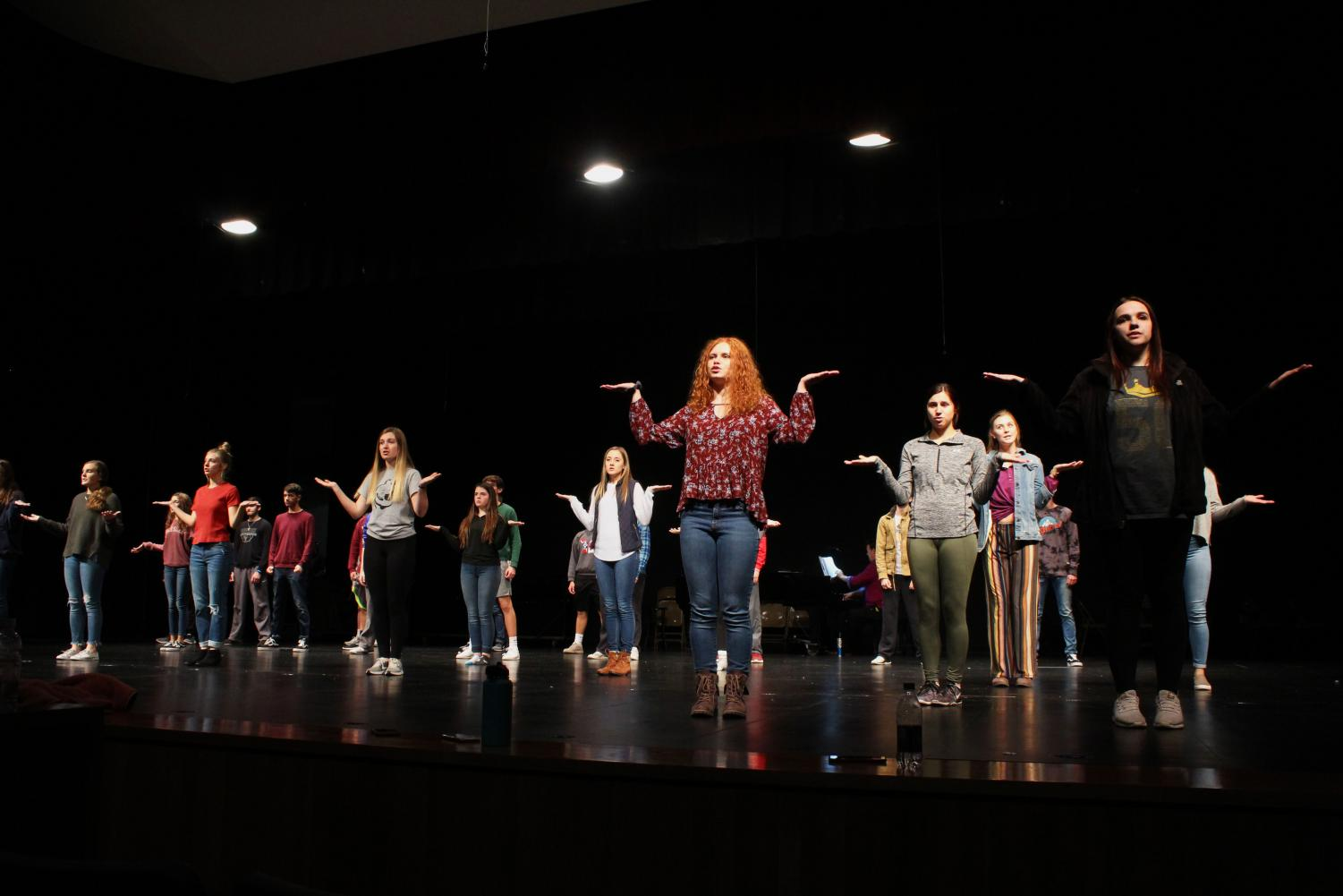 The Maize South vocal department practices for their yearly winter showcase. The show is Dec. 13 at 7:30 pm.