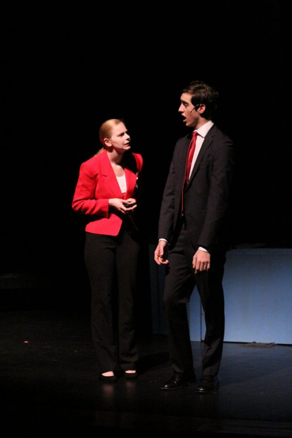 Senior Abby Wray and junior Preston Hunt perform as salesmen hoping to sale a play purifier.