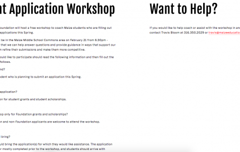 The Maize Education Foundation will host a workshop on February 1. The workshop is free of charge.