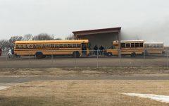 School bus catches fire