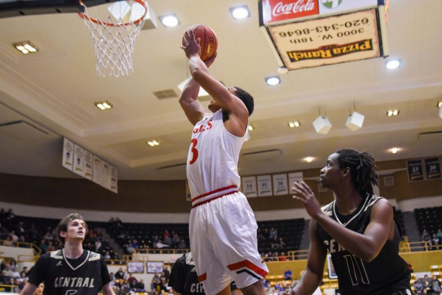 Senior Brandle Easter puts up a layup late in the fourth quarter.