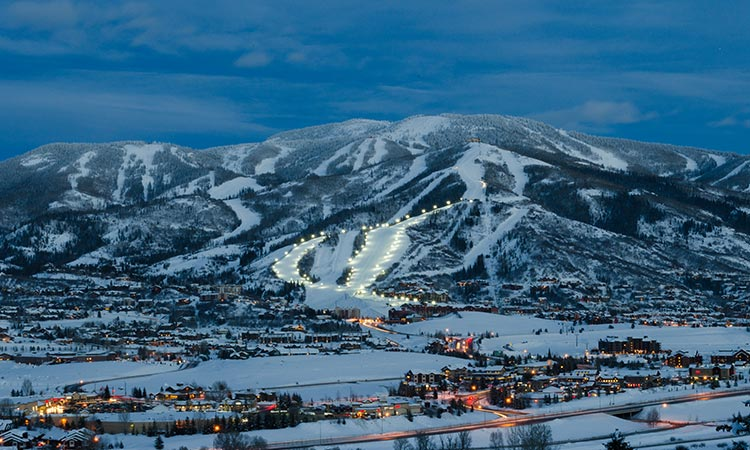 Steamboat Ski Resort nestled up in the mountains of  Steamboat, CO.