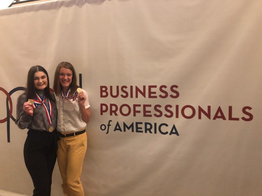 Abby McCoy and Anna Reimer at BPA nationals. Both McCoy and Reimer were the only two people from Maize HIgh to be a top ten finalist at BPA Nationals.