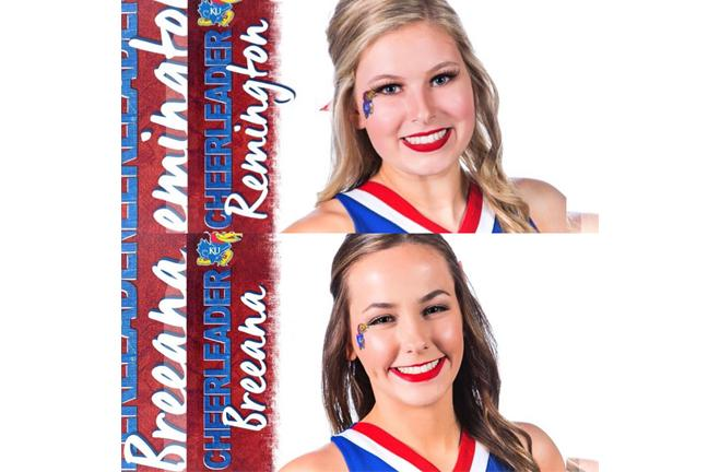 Remington+Young+and+Breeana+Smith+are+senirs+who+cheered+for+Maize.+Now+they+are+both+going+to+KU+to+be+cheerleaders.