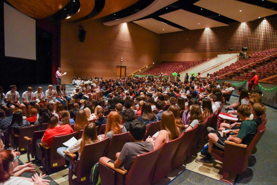 Freshmen+listen+to+principal+Chris+Botts+as+he+addresses+them+for+their+first+day.
