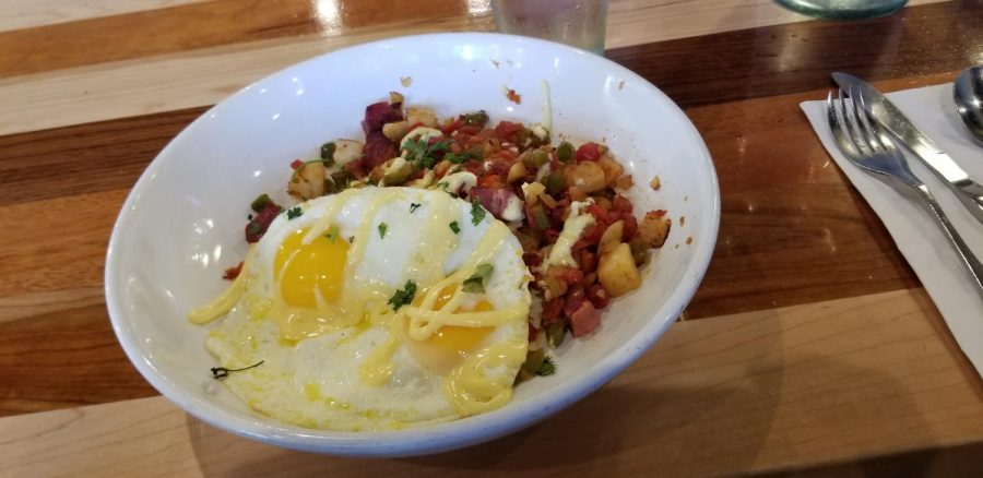 The Corned Beef Hash is one of the many appetizing options served fresh and organic at Homegrown.