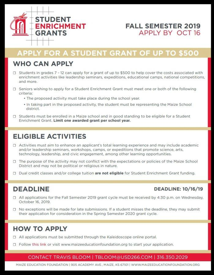 Student enrichment grant applications are live