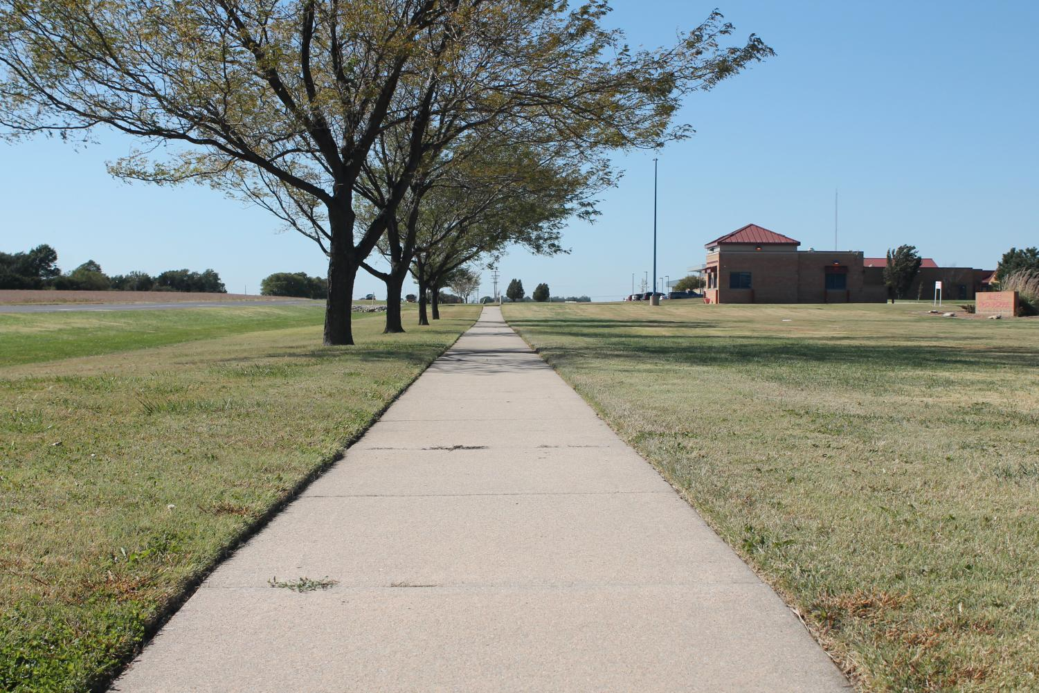 Construction on the new sidewalk started last Monday. The sidewalk will run along 45th street all the way to Maize High.