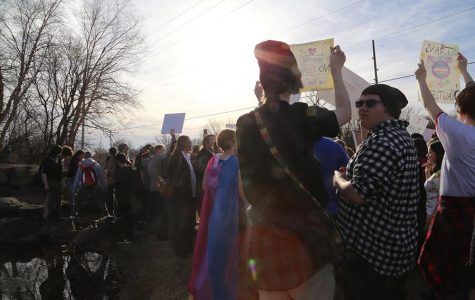 Students respond to a Westboro Baptist Chruch at Derby in 2017. The church plans to protest in Maize Dec. 11.