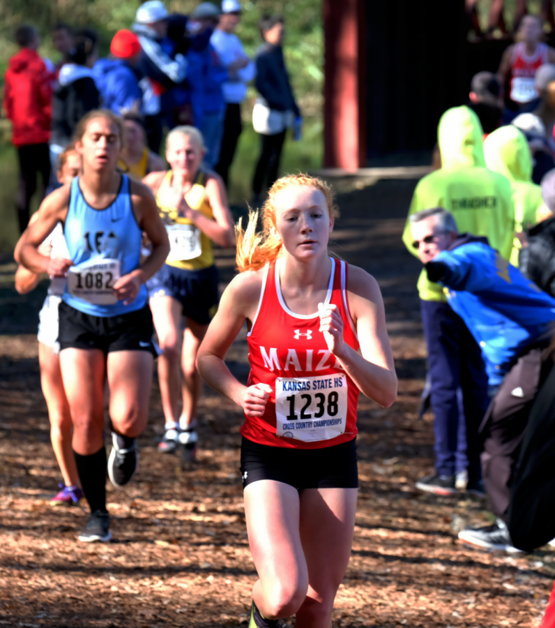 Zoie Ecord running at state cross country 2019. Ecord placed 10th at state.