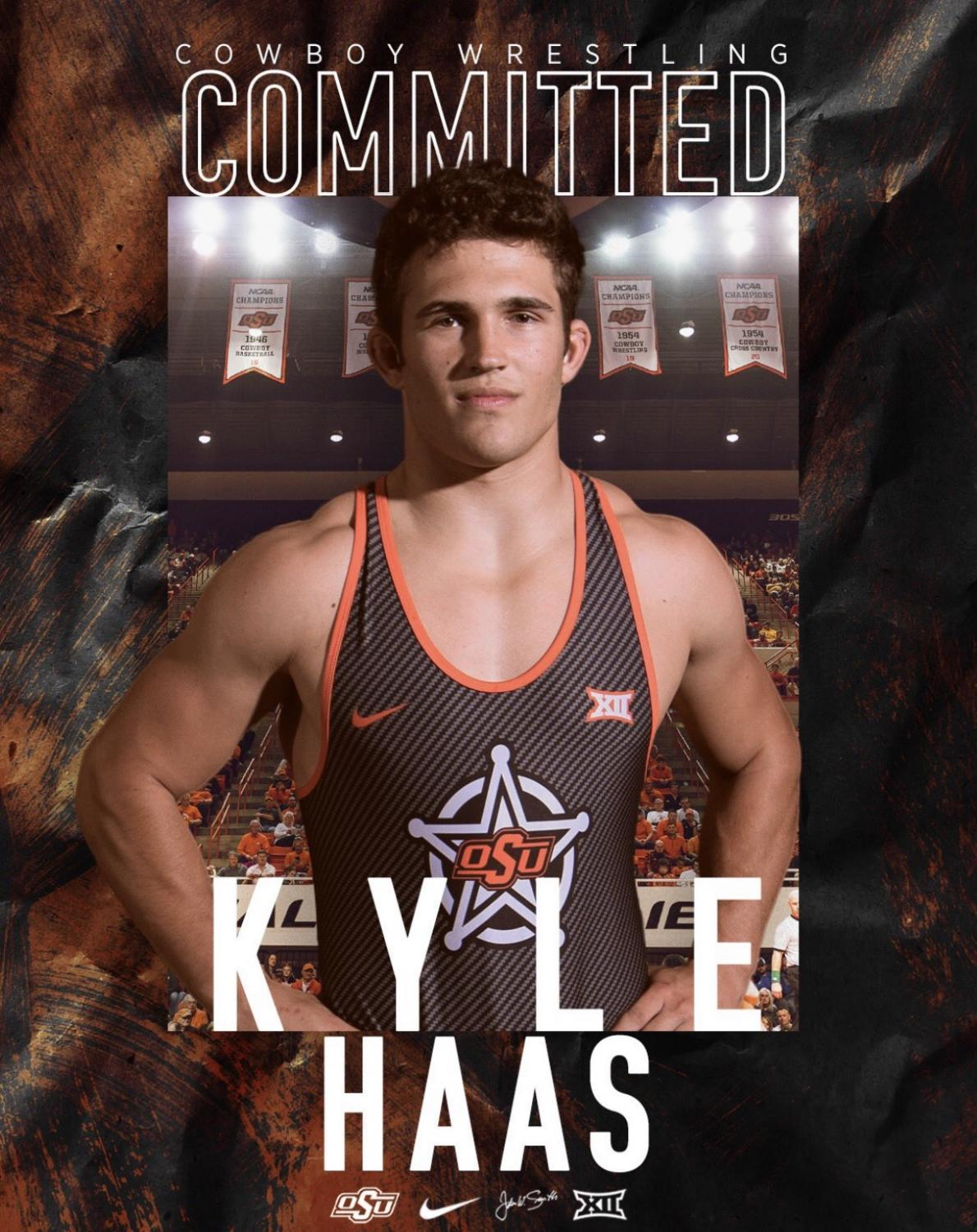Junior Kyle Haas Commits to Oklahoma State University. He will be walking on to play football and was recruited to wrestle.