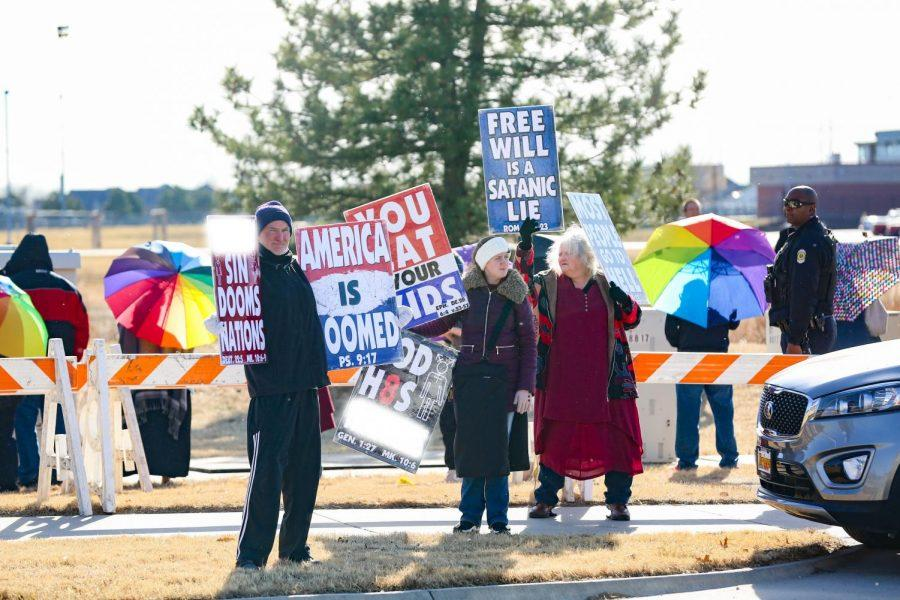 Approximately 90 counter-protestors came in support of students at Maize and Maize South each. Each school only had three to four protestors.