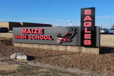 A new sign was added to front of Maize High School in hopes to end confusion with identifying main entrance of Maize versus Maize Career Academy.