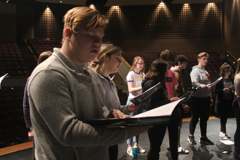 Junior Gavin Wright rehearses