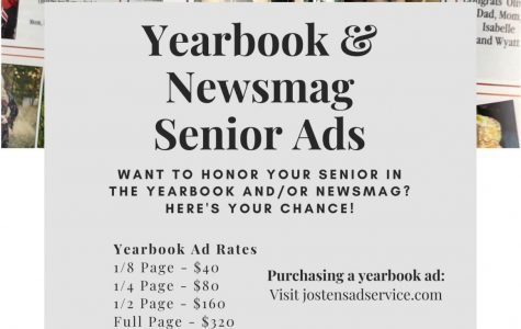 Senior ads are due Friday, March 13. You can purchase them via the Josten's website.