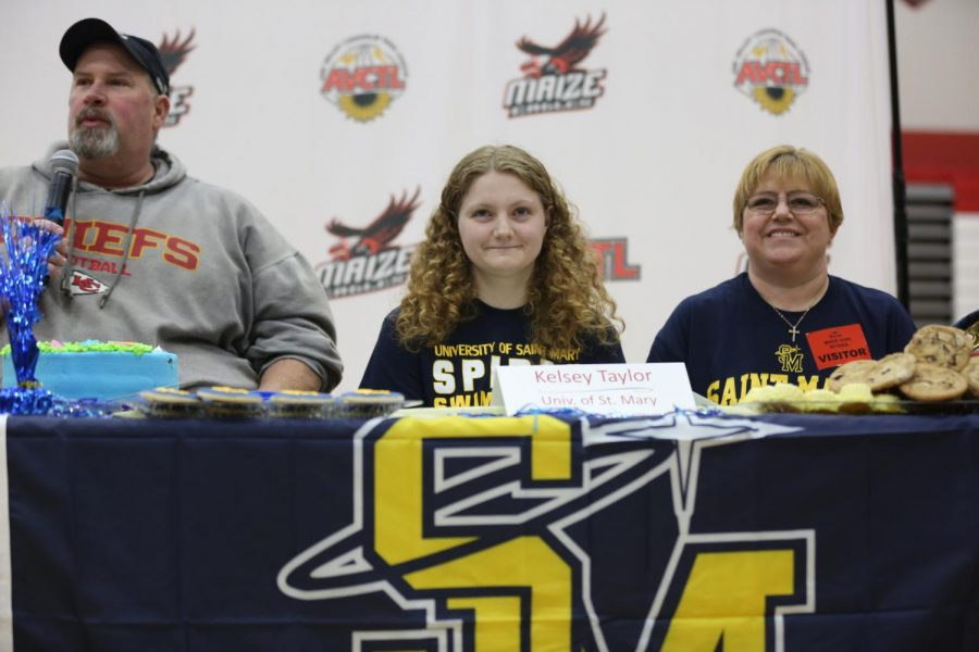 Senior Kelsey Taylor signs to the University of St. Mary for swimming.