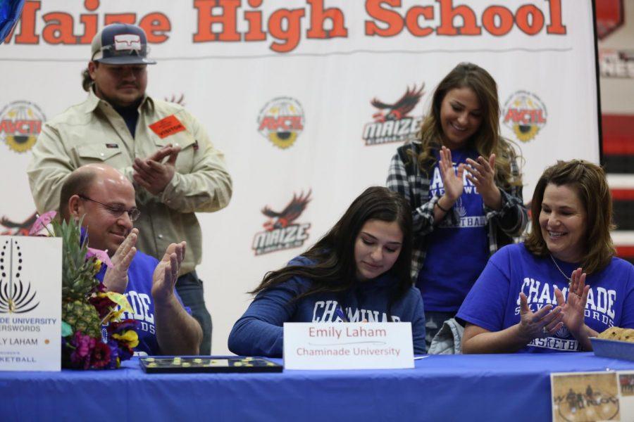 Senior Emily Laham signs to Chaminade University for basketball.