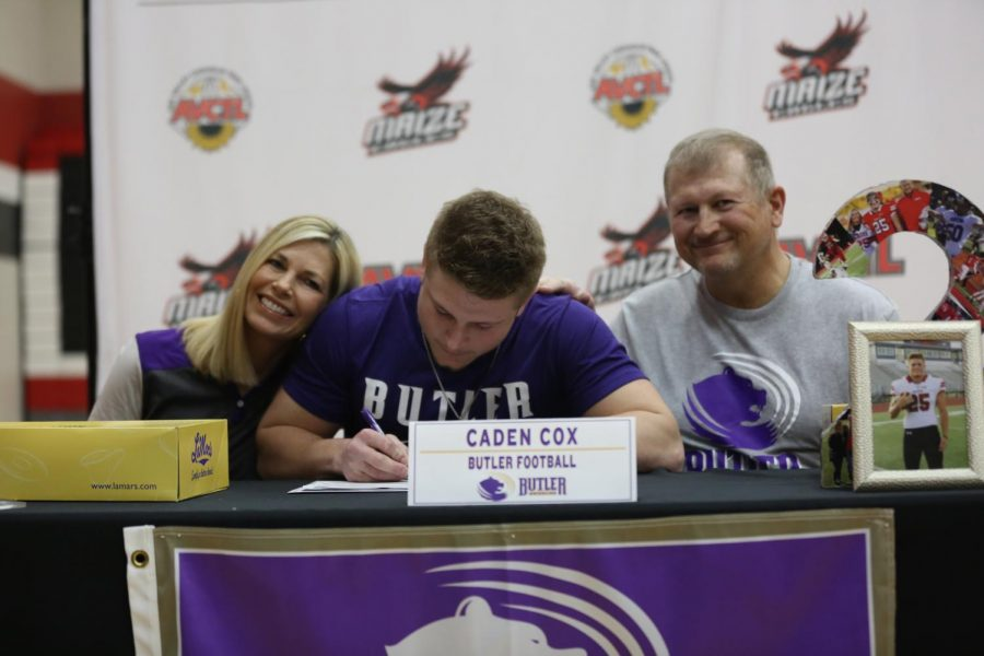 Senior Caden Cox signs to Butler Community College for football.