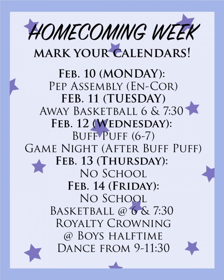 Winter homecoming week is Feb. 10-14.