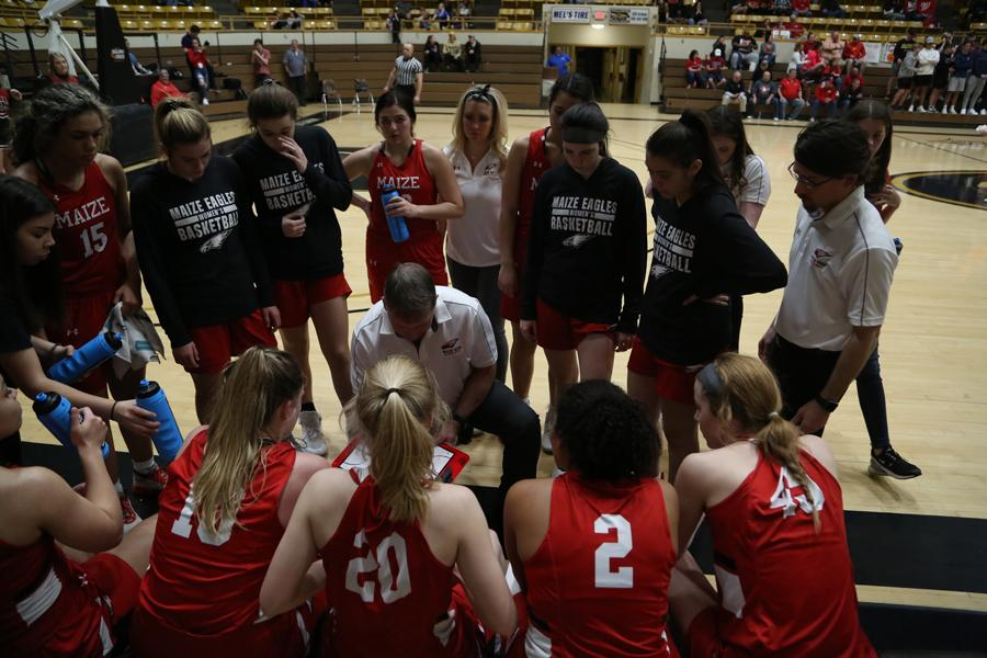 The team huddles up during the middle of the third quarter to strategize a plan against the Vikings during last year's state playoff games. The girls hope to have another successful season this year despite the chance of a possible delay.