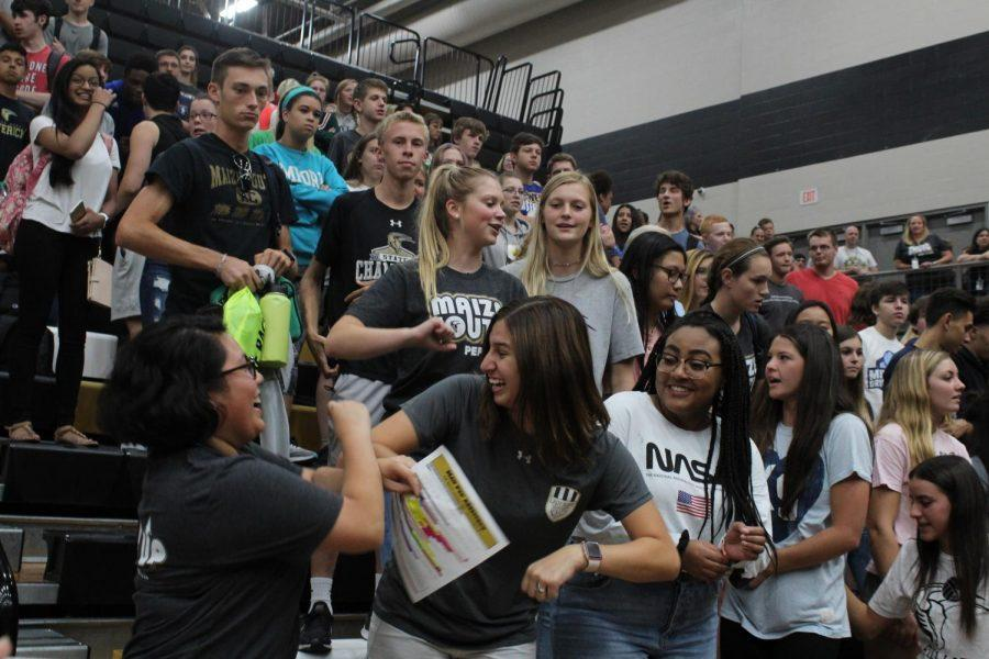 Students gather for an assembly during the first pep assembly of the school year in fall 2019. Many large student gatherings will be put into question due to the COVID-19 pandemic.