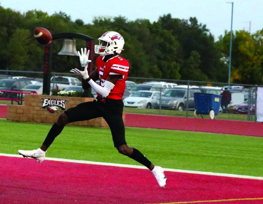 Senior Jacob Hanna scores a touchdown. Hanna is a receiver and has played football at Maize for 4 years.