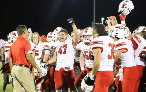 After the game, the team came together at the center of the field to celebrate their accomplishment. This was the third year in a row Maize defeated rival Maize South.