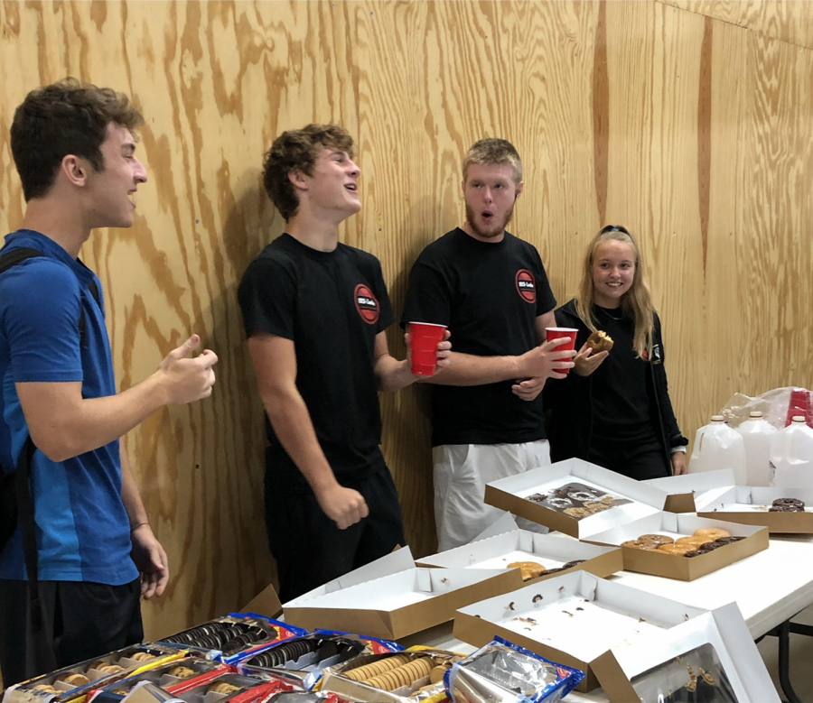 The MS Leche club conducts a monthly meeting last year where they would hang out during EnCor while eating milk and cookies as a way to take the stress of school off of their shoulders. Cooper Schoonover (Second from left to right), graduate, is seen enjoying a cup of milk and having a laugh with Josh Goodale (Far left), Connor Shannon (Second to the right), and Logan Patterson (Far right), all of which are graduates of Maize South High School.